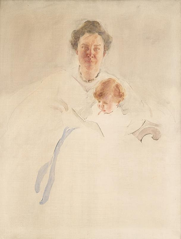 CECILIA BEAUX, (AMERICAN 1855-1942), MRS. ROBERT CHAPIN AND DAUGHTER CHRISTINA