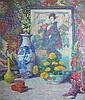 LILLIAN BURKE MEESER, (AMERICAN 1864-1942), STILL LIFE WITH JAPANESE PRINT, Lillian Burk Meeser, Click for value