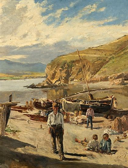 FRANCISCO GIMENO ARASA, (SPANISH 1858-1927), FIGURES ALONG THE SHORE