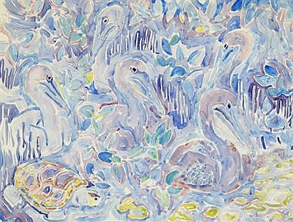 WALTER INGLIS ANDERSON, (AMERICAN 1903-1965), PELICANS AND TURTLE