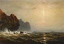 JAMES HAMILTON, (AMERICAN 1819-1878), STEAMER OFF A ROCKY COAST