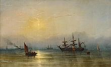 JAMES HAMILTON, (AMERICAN 1819-1878), SHIPS AT TWILIGHT