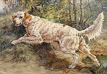 EDMUND HENRY OSTHAUS, (AMERICAN 1858-1928), SETTER IN PURSUIT