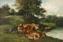 EDMUND HENRY OSTHAUS, (AMERICAN 1858-1928), COWS BY A STREAM