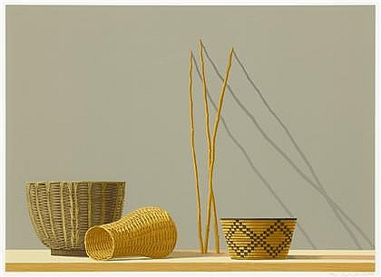 TWO SCREENPRINTS STEPHEN NEIL LORBER, (AMERICAN B. 1943), STILL LIFE WITH REEDS AND QUIVER