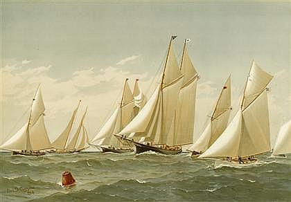 6 pieces. Chromolithographs. Cozzens, Frederic S. [Sailing Scenes]: