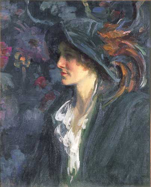 HOWARD LOGAN HILDEBRANDT (American 1872-1958) PORTRAIT OF A LADY WITH PLUMED HAT signed 'H. L. Hildebrandt' bottom right, oil on canvas 27 x 22 in. (68.6 x 55.9 cm).