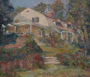 HERBERT NELSON HOOVEN (American b. 1897) 'HOUSE WITH FLOWERS' signed 'H. N. Hooven' lower left, oil on canvas 14 x 16 in. (35.6 x 40.6 cm).