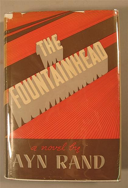 1 vol. Rand, Ayn. The Fountainhead. Indianapolis: Bobbs-Merrill, (1943). 1st ed., 3rd ptg. 8vo, orig. gilt-lettered red...