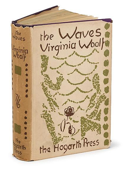 * 1 vol. Woolf, Virginia. The Waves. London: Hogarth Press, 1931. 1st ed. 8vo, orig. purple cloth, gilt-lettered spine;...