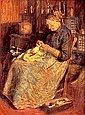 VICTOR DAVID HECHT (American b. 1873) THE OLD SEAMSTRESS