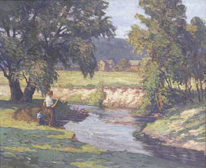 FRANK EDWARD LLOYD (American d. 1945) BOYS FISHING ON A SUMMER'S DAY