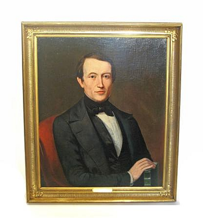 Attributed to Nicholas Biddle Kittell (1822- 1894), portrait of a young man with a book, Oil on canvas, framed.
