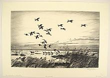 4 pieces. Scott, Peter (Markham). Drypoint Etchings: [Waterfoul:]
