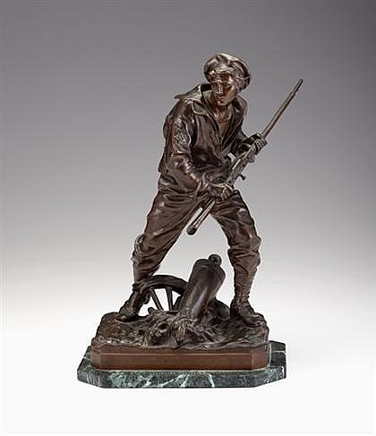 Aristide-Onesime Croisy (French, 1840-1899), l''invasion, Bronze, medium brown patina, signed ''Croisy'', with Susse Freres, Paris foun