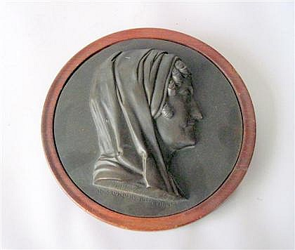 Henry D. Saunders (American, 1810-1863), , Classical bronze relief medallion, black patina; circular, depicting a woman in profile, inc