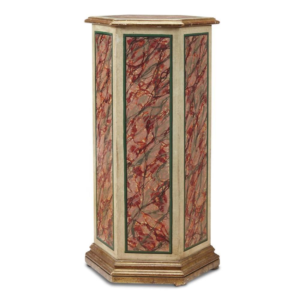 An Italian Baroque Style Faux Marbre Pedestal 19th Century