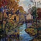 FERN ISABEL COPPEDGE (American 1883-1951) HOUSES ALONG A STREAM, EARLY AUTUMN signed