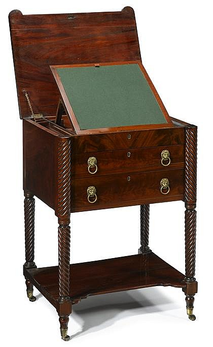 Regency mahogany writing desk, circa 1820, The rectangular top opening to a fitted interior comprising a baize-lined ratcheted writing