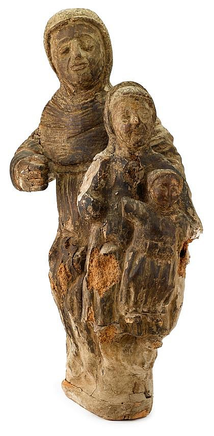 Continental carved wood figure group of St. Anne with the Virgin and Child, 16th/17th century, St. Anne depicted standing, with Mary an