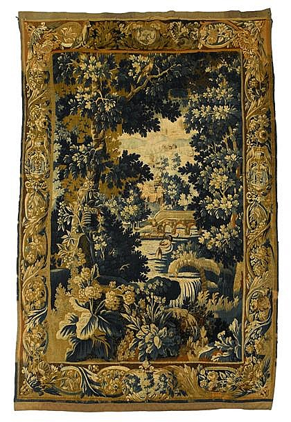 Brussells verdue tapestry, 18th century, Depicting ducks in a lake with architecture behind, within rich woodland foliage, the border c