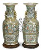 Large pair of Chinese export rose mandarin vases, 19th century, Typical form with lobed everted rim, gilt qilong to neck, the body enam
