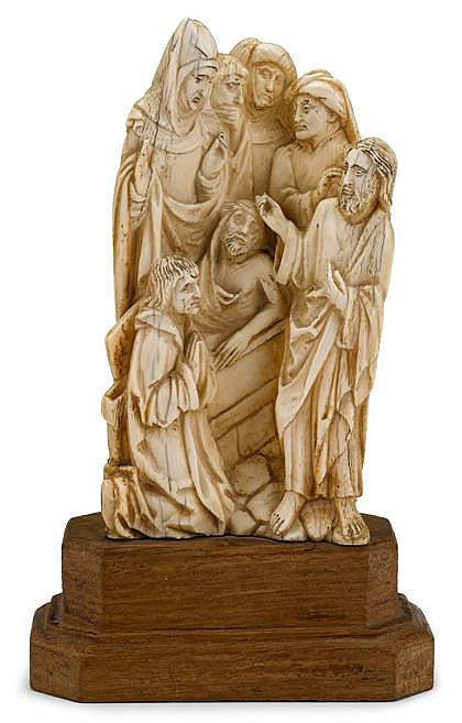 South German ivory figure group, the Raising of Lazarus, 17th century, Carved to show Christ with his hand touching the head of Lazarus