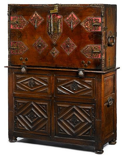 Large Spanish iron mounted walnut vargueno, the top with 16th/17th century elements, the base probably 19th century, The upper section