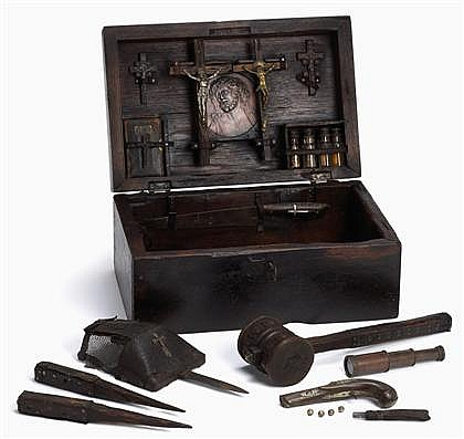 Good Continental Vampire slaying kit, 18th/19th century and later, The heavy oak case mounted with an embossed leather panel to top, op