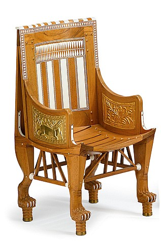Fine Egyptian revival cedarwood, ivory, and ebony replica of the child King Tutankhamen's throne chair, circa 1928, The rectangular so
