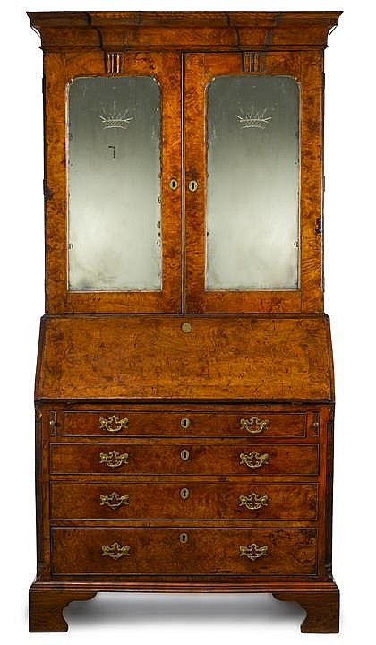Fine George II burl walnut secretaire bookcase, 18th century, In two parts, the upper section with molded breakfront cornice over twin