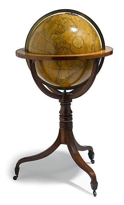 Fine Regency eighteen inch terrestrial library globe, john and william cary, 1817, Comprised of twenty engraved gores, the cartouche re