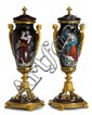 Pair of French gilt bronze mounted Limoges enamel covered urns, 19th century, Slender baluster form, the pull-off cover with gilt bronz