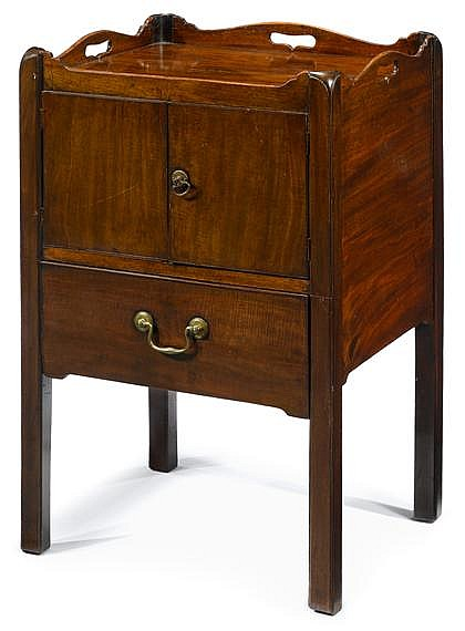Good George III mahogany night stand, circa 1765, The dished top over twin cupboard doors, above single drawer, raised on square legs.