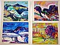 Jean Krille (Switzerland, 1923-1991), group of five oil paintings, circa 1988, Each depicting a colorful abstract landscape, signed low