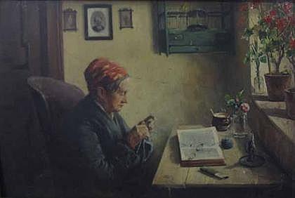 AUGUST IGNATZ GROSZ, (AUSTRIAN 1847-1917), WOMAN KNITTING