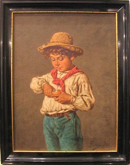 ACHILLE PETROCELLI, (ITALIAN B. 1861), BOY PEELING ORANGE