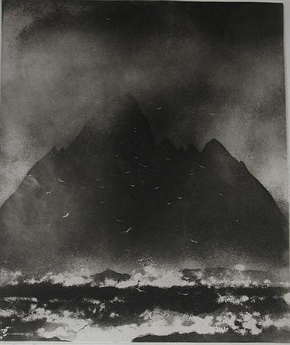 """TWO PRINTS NORMAN ACKROYD, (BRITISH B. 1938), """"LITTLE SKELLING ROCK- CO. KERRY"""""""