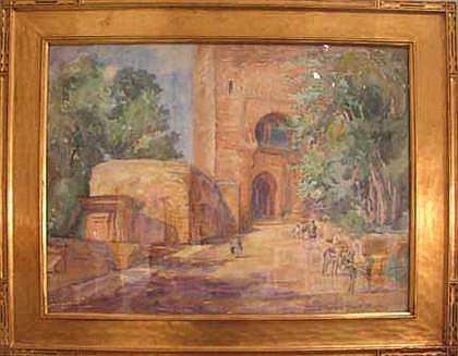 ELIZABETH GOWDY BAKER, (AMERICAN 1860-1927) THREE WATERCOLORS, FOREST, NORTH AFRICAN SCENE