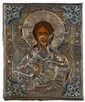 Russian oklad Icon, 'Christ Pantocrater', , Depicting Christ at peace, beneath a silver and cloisonne enameled riza.