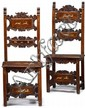 Pair of Italian renaissance style marquetry and ivory inlaid carved walnut side chairs, 19th century, The scroll carved splats enclosin