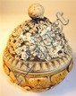 Chinese carved elephant ivory covered censer, qianlong mark, The pull-off cover carved to show dragons in clouds, over mask carved dish
