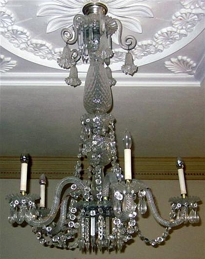 Regency style cut-glass five-light chandelier, late 19th century, Hung with cut-glass beads and pendants.