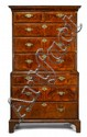 George I crossbanded and line inlaid walnut chest on chest, early 18th century, In two parts: the cavetto molded cornice above two shor