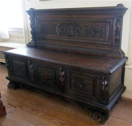Renaissance revival walnut hall bench, , The rectangular carved back with caryatid supports at ends, above a rectangular lift-up seat,