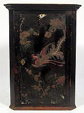 George III style polychrome painted black lacquered corner cupboard, 19th century,