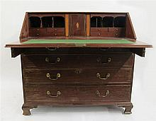 George III mahogany slant-front desk, late 18th century,