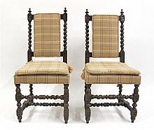 Pair of Jacobean style barley twist side chairs, late 19th century,