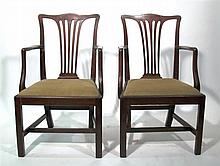 Two George III style mahogany armchairs, 19th century,