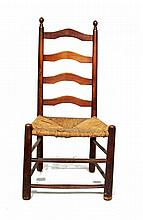 Ladder back chair with rush seat, 19th century,
